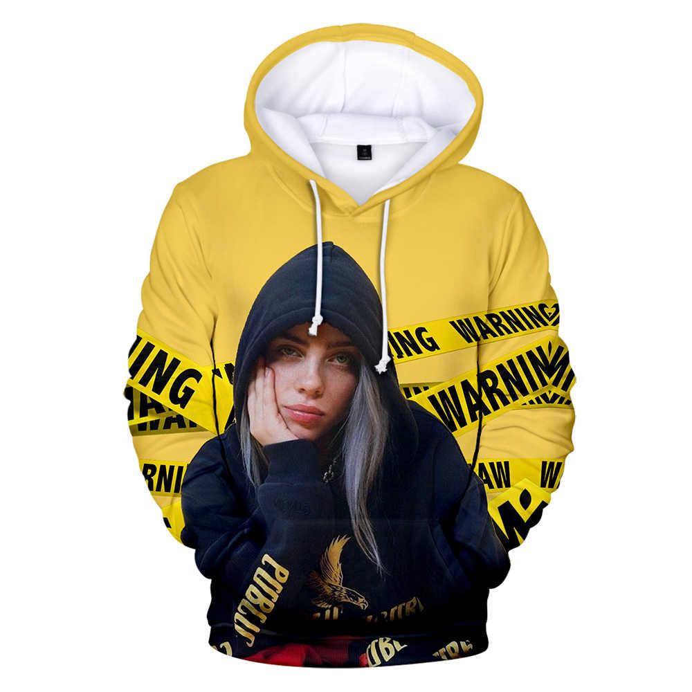 2019 Billie Eilish bluzy hip-hopowa moda Cosplay bluza w stylu kpop tkaniny mężczyźni 3D drukuj casualowe w stylu streetwear Unisex bluza z kapturem długi płaszcz