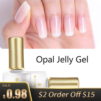 BORN PRETTY Opal Jelly Gel 6ml Pink Jelly Gel Polish Base Coat No Wipe Top Coat White Soak Off Nail UV Gel Varnish 1 Bottle недорого