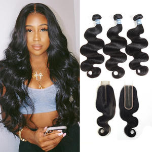 Amanda Body Wave Double Drawn Human Hair With Kim K Closure 2x6 Unprocessed Virgin Brazilian Hair Weave Bundles With Closure