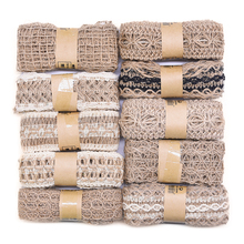 2M Natural Jute Burlap Ribbon Vintage Hollow Ribbons Wedding Festival Decoration DIY Craft Gift Wrapping Supplies