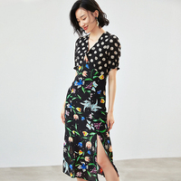 100% High Quality Silk Dress Women Print Dot Pathwork Decoration Deep V Neck Half Sleeves Slim Split Dress New Fashion