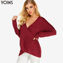 цена на YOINS Sexy Women Sweaters 2020 Spring Autumn V Neck Long Sleeve Solid Knitwear Casual Solid Asymmetrical Hem Elegant Pullovers