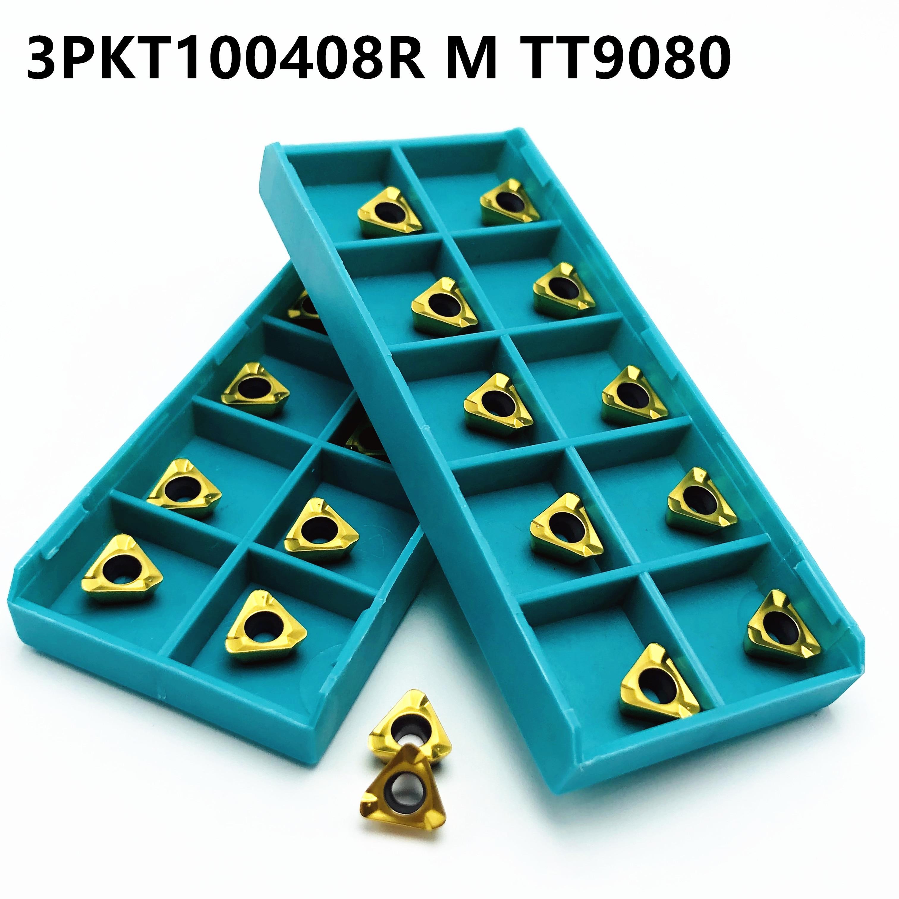 10PCS Carbide Insert 3PKT100408R M TT9080 External Turning Tool CNC Lathe Tool 3PKT 100408R CVD + PVD Milling Tool Carbide