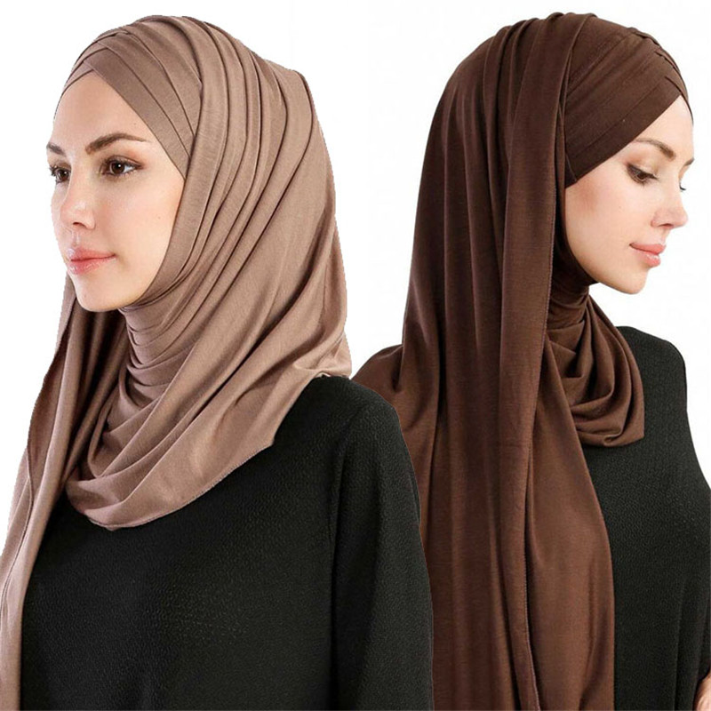 2020-Women-Plain-Soft-Cotton-Jersey-Scarf-Head-Hijab-Wrap-Instant-Shawls-foulard-femme-muslim-Hijabs (2)