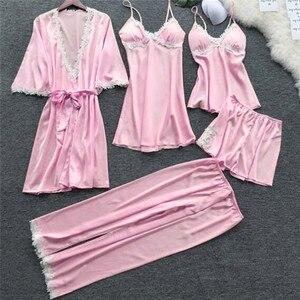 Image 4 - 2020 Women Satin Sleepwear 5 Pieces Pyjamas Sexy Lace Pajamas Sleep Lounge Pijama Silk Night Home Clothing Pajama Suit
