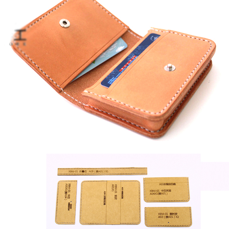 DIY Leather Craft Name Card Holder Heavy Weight Kraft Paper Template Pattern Hollowed Stencil 11x7.5cm