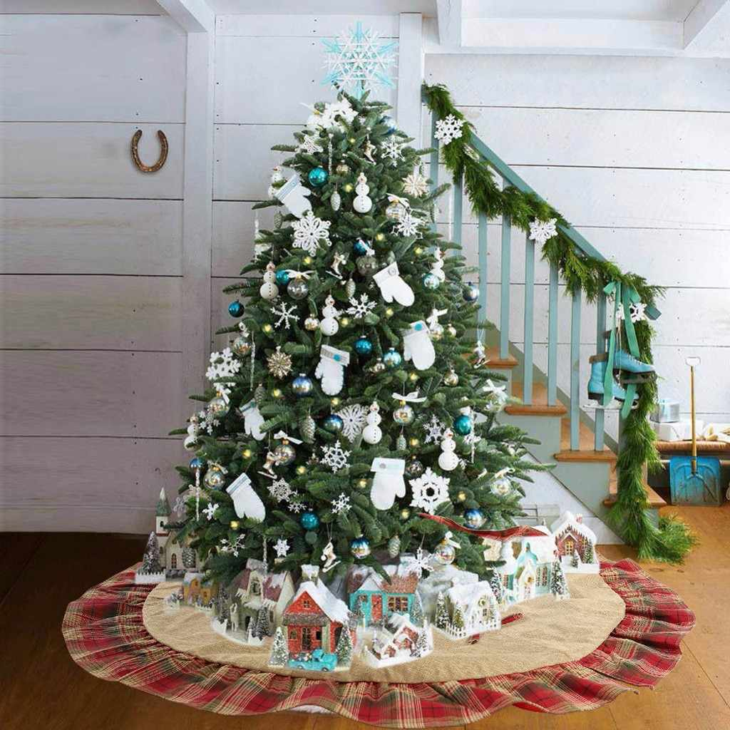 2019 Burlap Snowflake Christmas Tree Skirt Aprons Golden Edge Santa and Snowman Decoration for Home Xmas Tree Skirt New Year