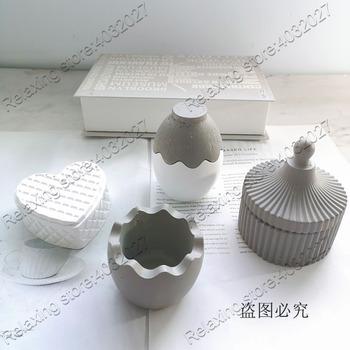 Do betonu formy doniczkowe na soczyste rośliny jaj w kształcie serca w kształcie serca cementu formy silikonowe okrągły biżuteria pudełko do przechowywania tynk formy tanie i dobre opinie LISM Silicone rubber Pot mold