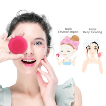 цена на 2 in 1 Sonic Face Cleaning Brush Smart Red Light Wave heating Vibration Face Mask Importer Facial Care Massager Pore Cleaner