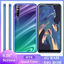 A51 smartphones gota de água tela quad core 13mp 6.26 polegada 4g ram 64g rom ips android telefones celulares celulares face id desbloqueado