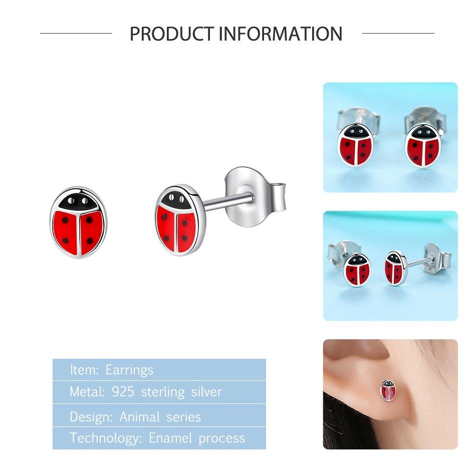 Fashion 925 Sterling Silver Earrings Children Jewelry Red Enamel Animal Ladybug Small Stud Earrings For Kids Girls Baby