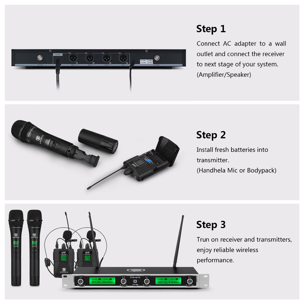 freqüência fixa 4 canais handheld microfone bodypack