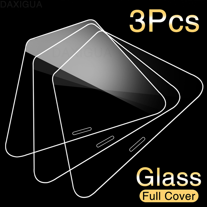 3Pcs Full Cover Protective Glass On For iPhone 11 Pro X XR XS MAX 10 5s SE 2020 Screen protector For iPhone 7 8 6 6s Plus Glass(China)