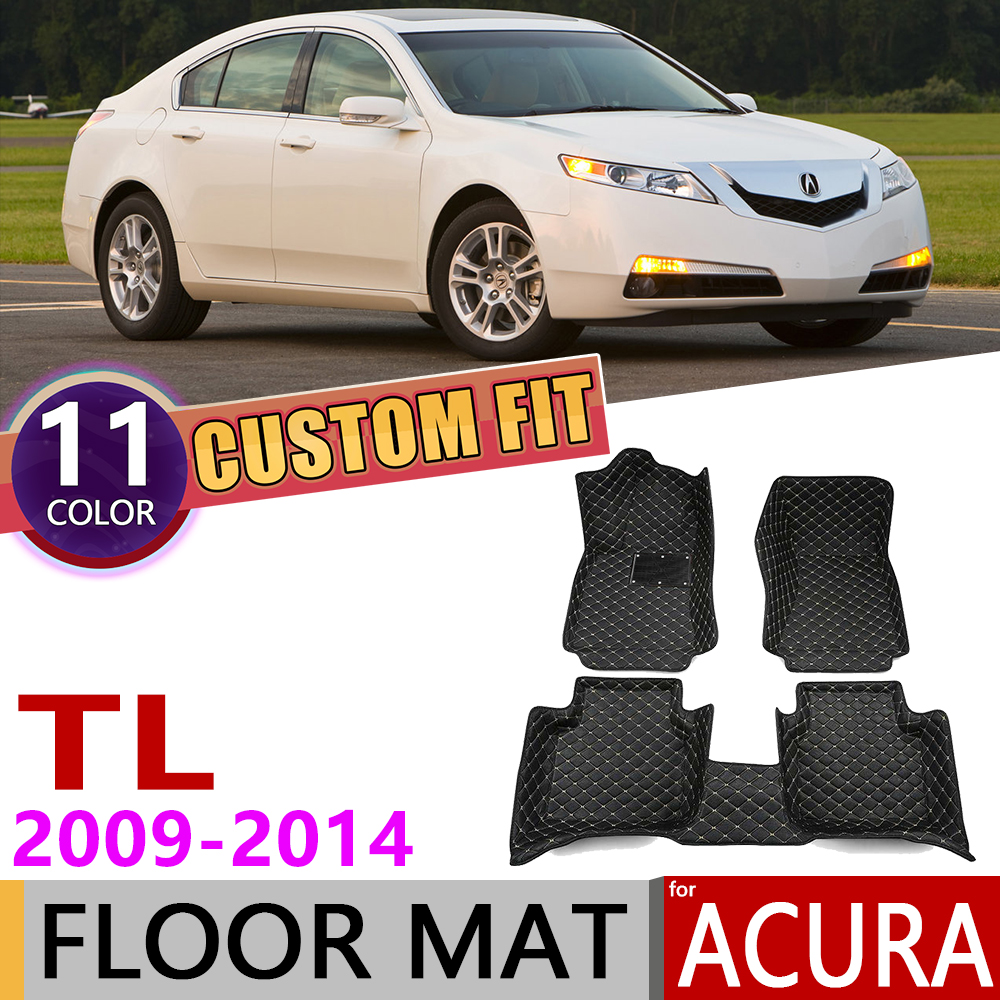 Custom Leather Floor Mats For Acura TL UA8 UA9 5 Seats 2009~2014 Waterproof Auto Foot Pad Carpet Accessories 2010 2011 2012 2013