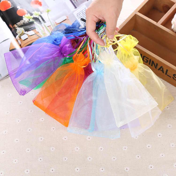 10 Uds. Bolsas de Organza de 7x9cm bolsas de regalo de fiesta de boda de Halloween de Navidad bolsas transparentes para la ducha del bebé embalaje de Chocolate caramelo