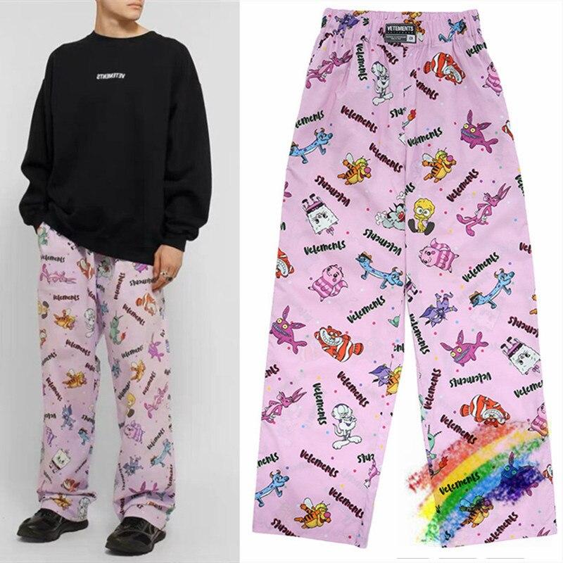 2020ss Pink Vetements Pants Men Women 1:1 High-Quality Drawstring Cartoon Tracksuit Joggers Vetements Sweatpants Trousers