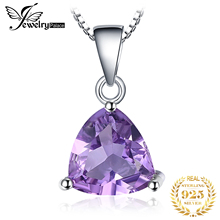 FEELCOLOR Natural Gemstone Purple Amethyst Pendant For Women Pure 925 Sterling Silver Trillion Cut Fashion Fine Accessories 2015 trillion 1 4ct natural stone purple amethyst solid 925 sterling silver stud earrings for women charm jewelry gift fashion 2015