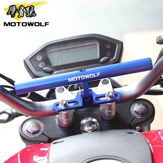 MOTOWOLF Bracket Motorcycle Scooter Bike Phone GPS Spotlight Support Holder Bar For Honda KTM Harley Kawasaki Suzuki Yamaha BMW