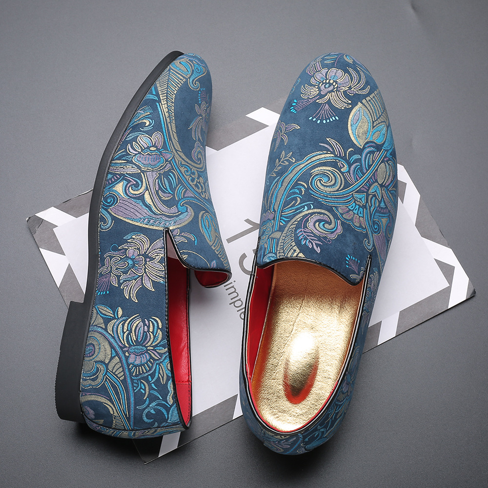 Suede Embroidered Men Shoes Casual Leather Shoes For Men Flats Driving Shoes Mocassin Slip On Loafer Male Shoes Big Size 38-48