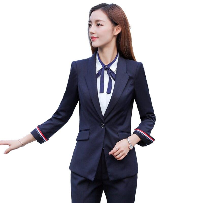 New Fashion Ladies Blue Dress Blazers Women Jackets Female Elegant Formal Office Work Wear OL Uniform Styles Blazer Casual Long