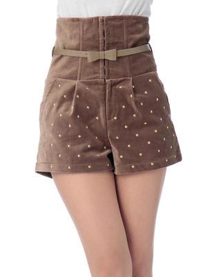 LIZ LISA Beaded Velvet High Waist Shorts