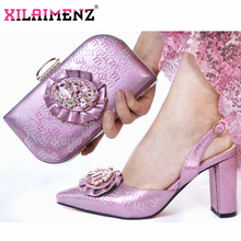 Mature Special Design Onion Color Shoes And Bag To Match Set Nigerian High Heels Party Shoes And Bag Set For Wedding Dress