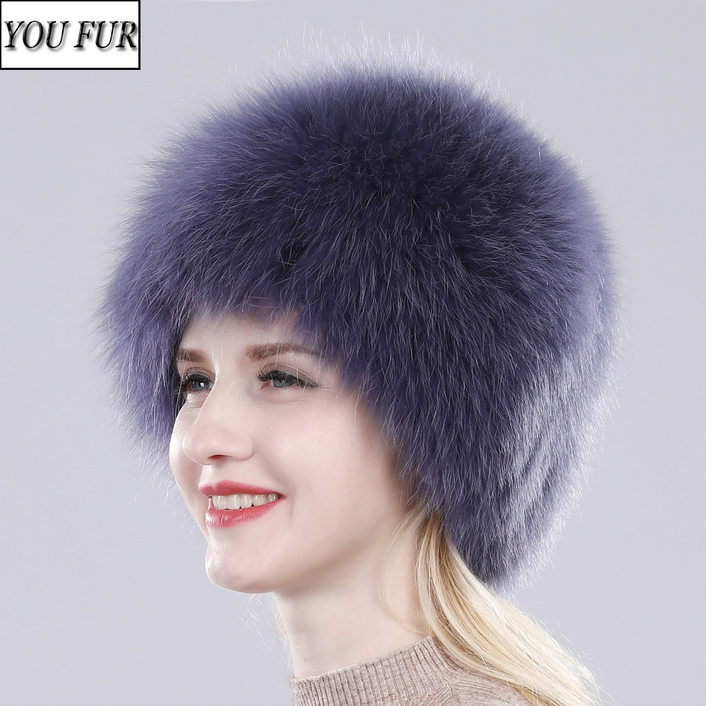 New Women Natural Real Fox Fur Hat Winter Real Fox Fur Beanies Caps Handmade Lady Warm Soft Knitted Real Fox Fur Skullies Cap