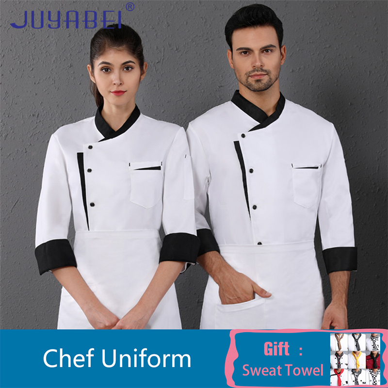 Oblique Collar Single Breasted Long Sleeve Chef Uniform Men Black Kitchen Overalls Cafe Hotel Bakery Hair Salon Waiter Shirt