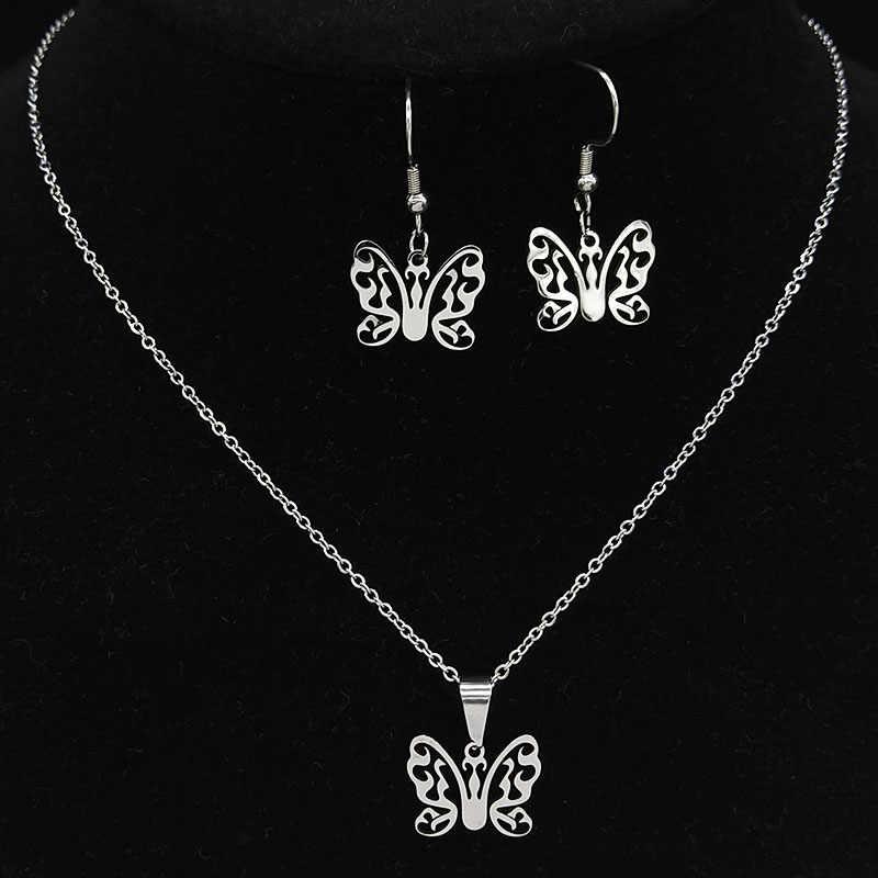 2020 mode Schmetterling Edelstahl Schmuck Sets Frauen Gold Farbe Ohrringe Halskette Set Schmuck bijoux plaquer oder 178576