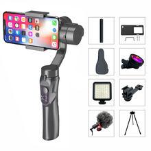 3 eixos handheld cardan smartphone estabilizador de carregamento usb gravação vídeo suporte universal direção ajustável vlog ao vivo