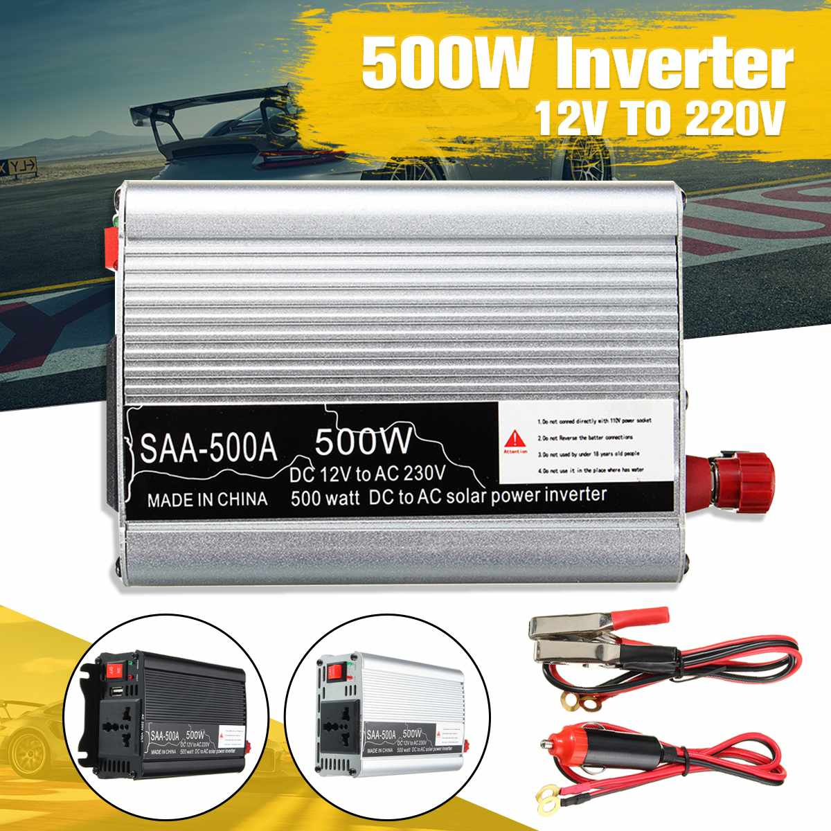 Portable <font><b>500W</b></font> DC 12V to AC 220V USB Car Power <font><b>Inverter</b></font> Charger Converter Adapter DC 12 to AC 220 Modified Sine Wave Transformer image