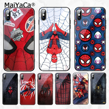 MaiYaCa Marvel Spiderman Black Soft Shell Phone Cover for Apple iPhone 8 7 6 6S Plus X XS MAX XR