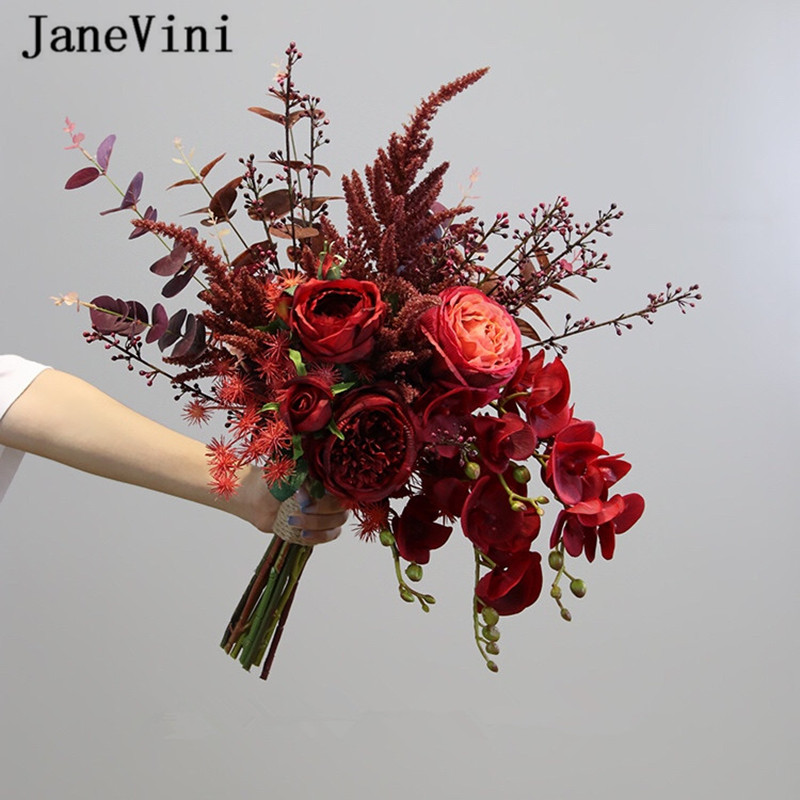 Janevini Vintage Dark Red Silk Flowers Wedding Bouquets Artificial Peony Rose Bridal Bridesmaid Bouquet Wedding Accessories 2019 Wedding Bouquets Aliexpress