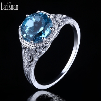 LaiZuan Real 10K White Gold Round 2.3ct 100% Genuine Natural Blue Topaz Engagement Wedding Vintage Trendy Jewelry Gemstone Ring image