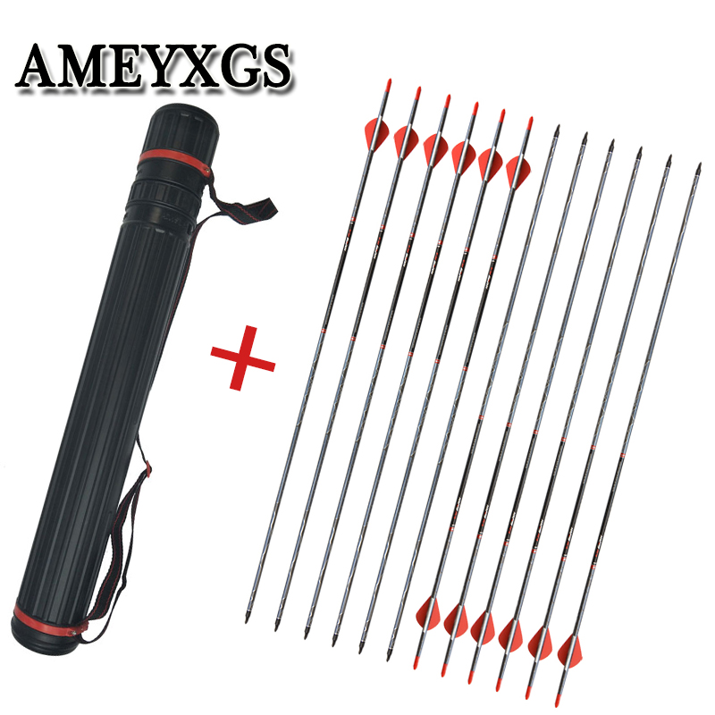 12pcs Archery 500 Spine Mix Carbon And Arrow Quiver Outdoor Shoulder Portable Hunting Sports Shooting Bow Accessories in Bow Arrow from Sports Entertainment