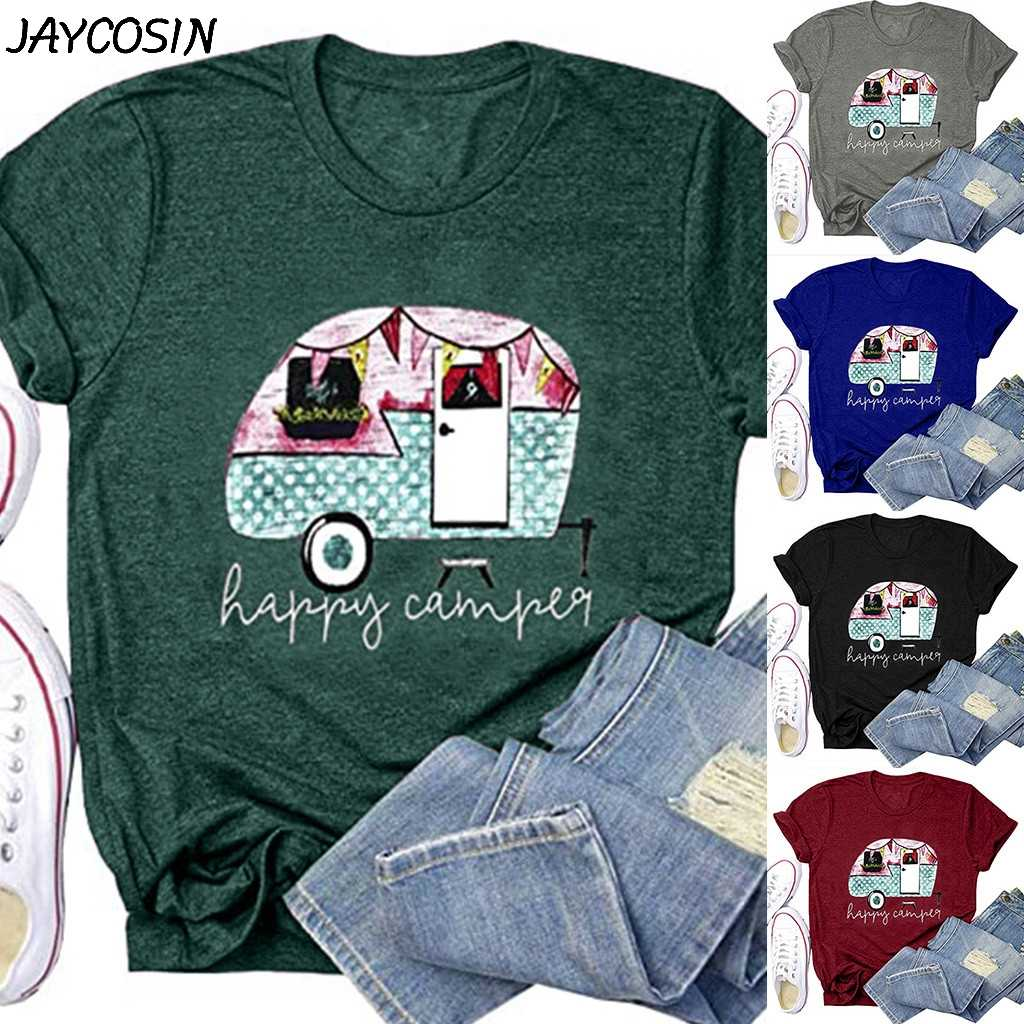 Jaycosin Vrouwen Grappige Brief Auto Gedrukt Tops Happy Camper Leuke T-shirt Zomer Casual Grafische Camping Tee Shirts T-shirts Tops