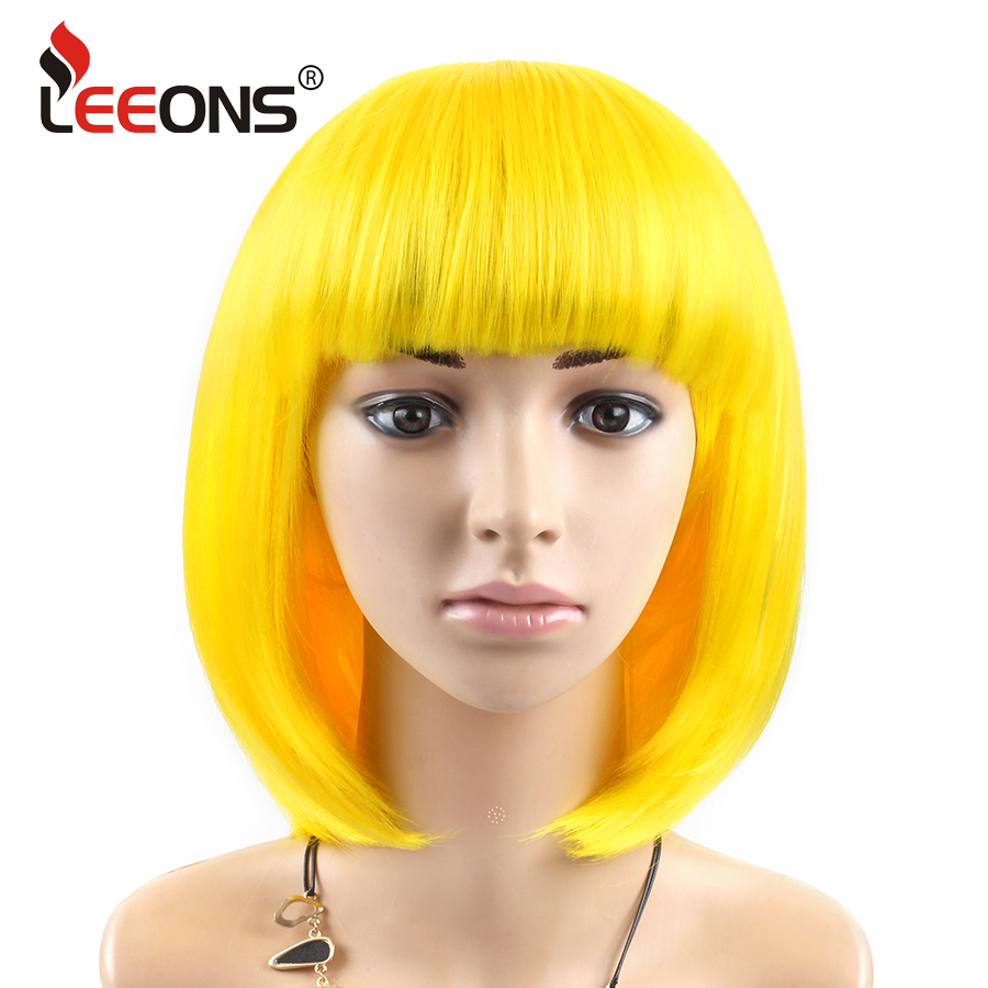 Leeons Cosplay Wigs With Bangs For White Women 23Colors Black Red Yellow Short Straight Bob Synthetic Hair Heat Resistant Fiber