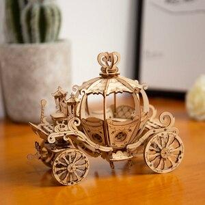 Image 4 - Robotime 3D עץ פאזל משחקי הרכבה דלעת עגלת דגם צעצועים לילדים ילדים בנות מתנת יום הולדת