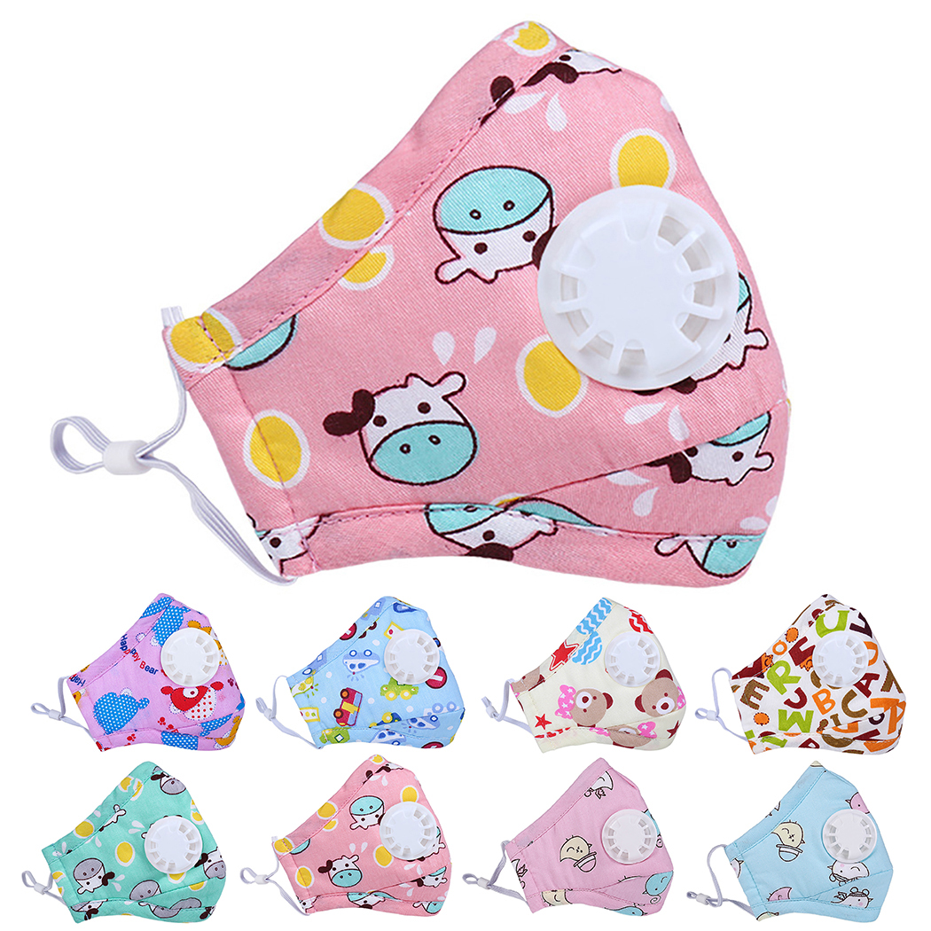 Mouth Masks Cartoon Printing Dustproof Breathable PM2.5 Kids Cotton Mouth Face Nose Mask Cover With Filter Respirator Anti-Dust
