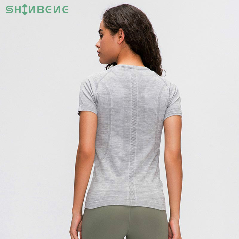 SHINBENE Seamless Slim Fit Workout Gym Fitness T-shirt Short-sleeved Shirts Women Breathable Plain O-neck Sport Running Yoga Tee