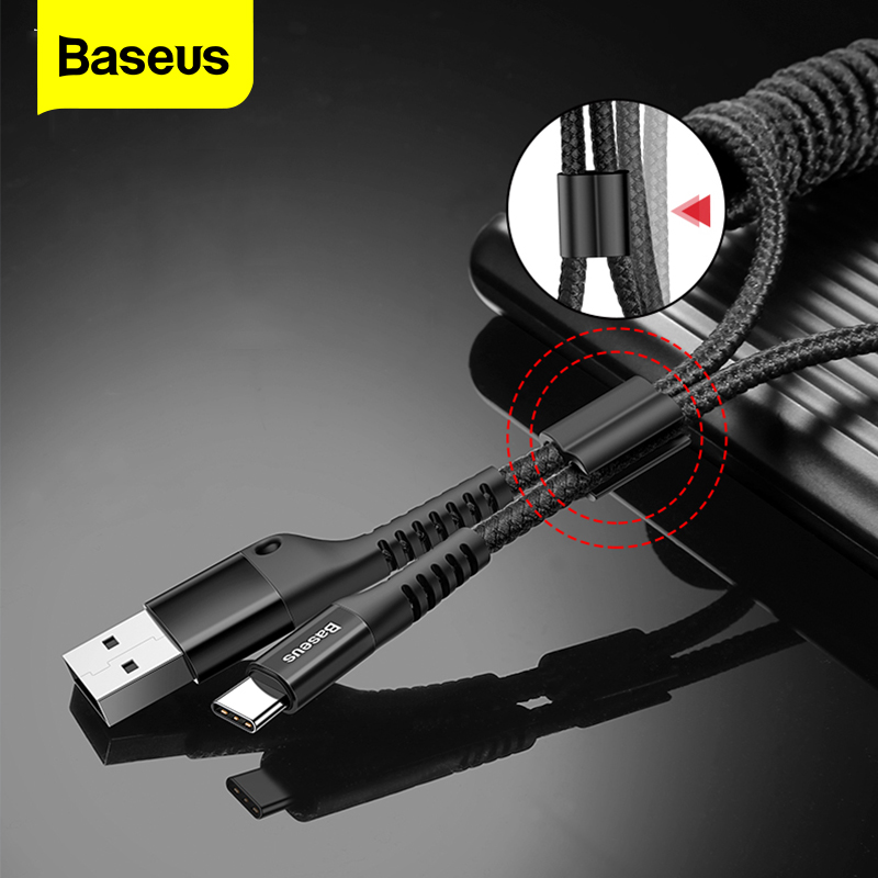Baseus Retractable Spring USB Type C Cable For Samsung S10 S9 S8 Xiaomi mi 9 8 USB C Fast Car Charging Charger USBC Type C Cable|Mobile Phone Cables|   - AliExpress
