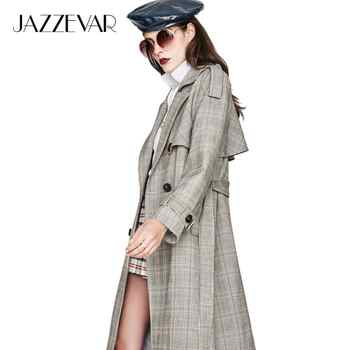 JAZZEVAR new 2019 Autumn Fashion Street Casual Women's Vintage plaid Double Breasted Trench coat Outerwear High Quality - DISCOUNT ITEM  50% OFF All Category