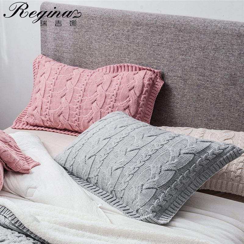 REGINA Brand Twist Stripe Knitted Pillow Case Nordic Style Super Soft Bed Decorative Pillow Cover Pink Beige Gray Cushion Cover