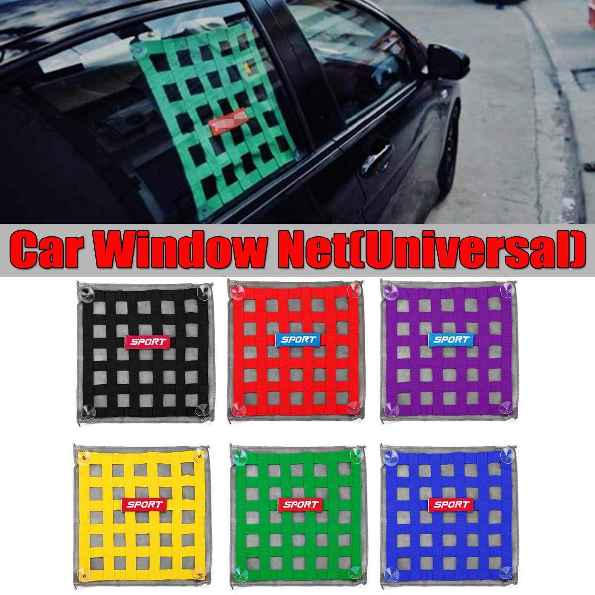 6 Color Nylon Universal Car Racing Window Net Racing Race Car Safety Window Protect Net Tensioning Belts Safety Window Net