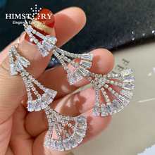 Himstory Indian Jewelry Luxury European Fan Shape Cubic Zircon Earrings Wedding Bridal Classic Long