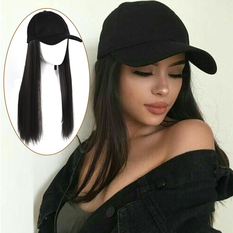 AOSI Long Synthetic Baseball Cap Hair Extension Black Brown Wavy Straight Curly 24inch Naturally Connect Hat Wigs For Women