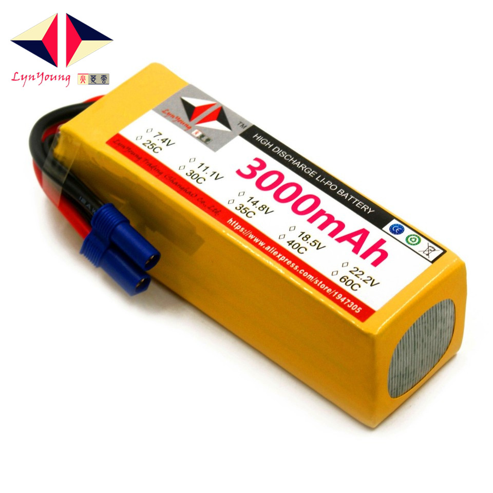 LYNYOUNG RC LiPo battery 6S 22.2V 3000mAh 25C 30C 35C 40C 60C For truck car drone quadcopter helicopter