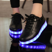 Boy Fashion Shoes  Led Usb Charging Glowing Sneakers Hook Loop Fashion Luminous Shoes for Girls Boys Skate Shoes kkabbyii 7 color usb charging glowing led sneakers for boy