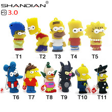 SHANDIAN USB 3.0  Bart Simpson Mouse Wolf 4GB 8GB 32GB Memory Stick U Disk PenDrive Homer Pen Drive USB Flash Drive