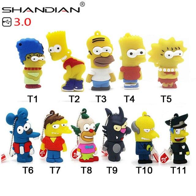 Shandian usb 3.0 バートシンプソンマウスウルフ 4 ギガバイト 8 ギガバイト 32 ギガバイトメモリスティックuディスクペンドライブホーマーペンドライブusbフラッシュドライブ